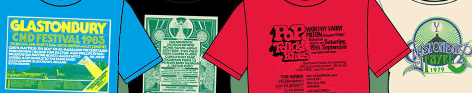 New retro poster T-shirts in the Glastonbury shop