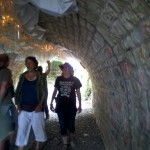 People enjoy the sound installation in the tunnel under the old railway line.