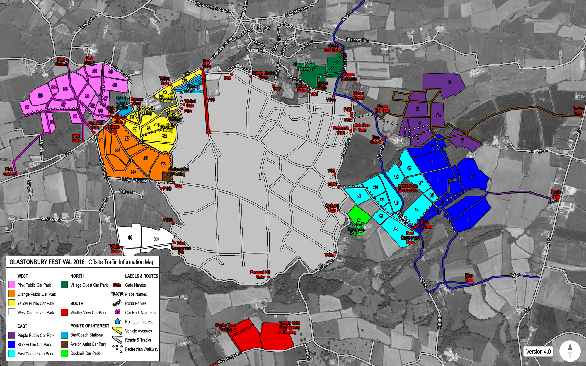 Carte des parkings du festival de Glastonbury