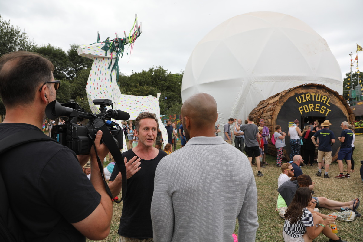 Bruce Parry at Glastonbury 2017, promoting Greenpeace's work in the Amazon including the award winning 360VR film about the Munduruku people.