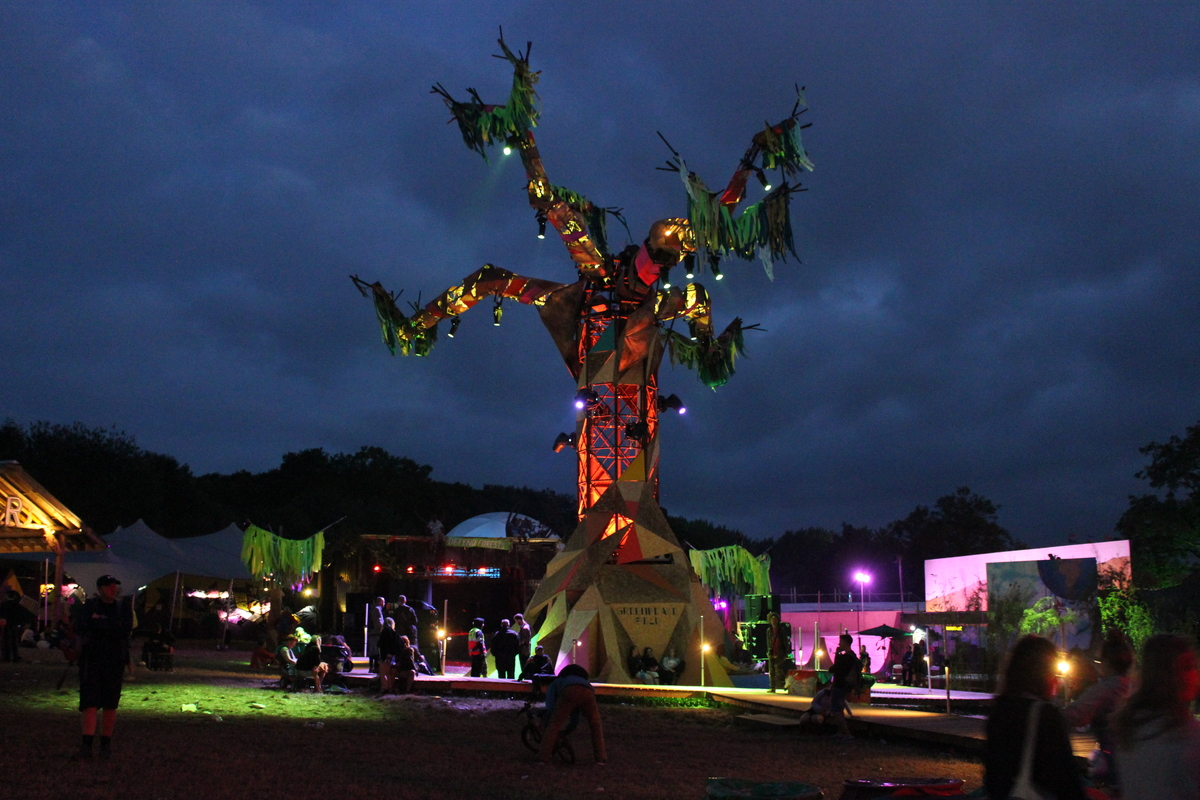 The Rave Tree in the Greenpeace Field at Glastonbury, there is a cabin in the tree for DJ's and the branches are installed with lights.