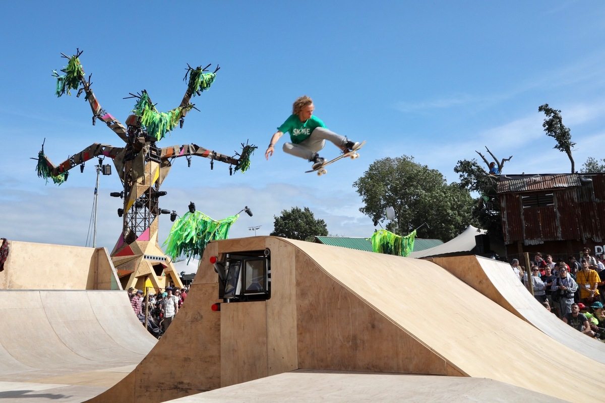 Greenpeace skatepark at Glastonbury 2017.