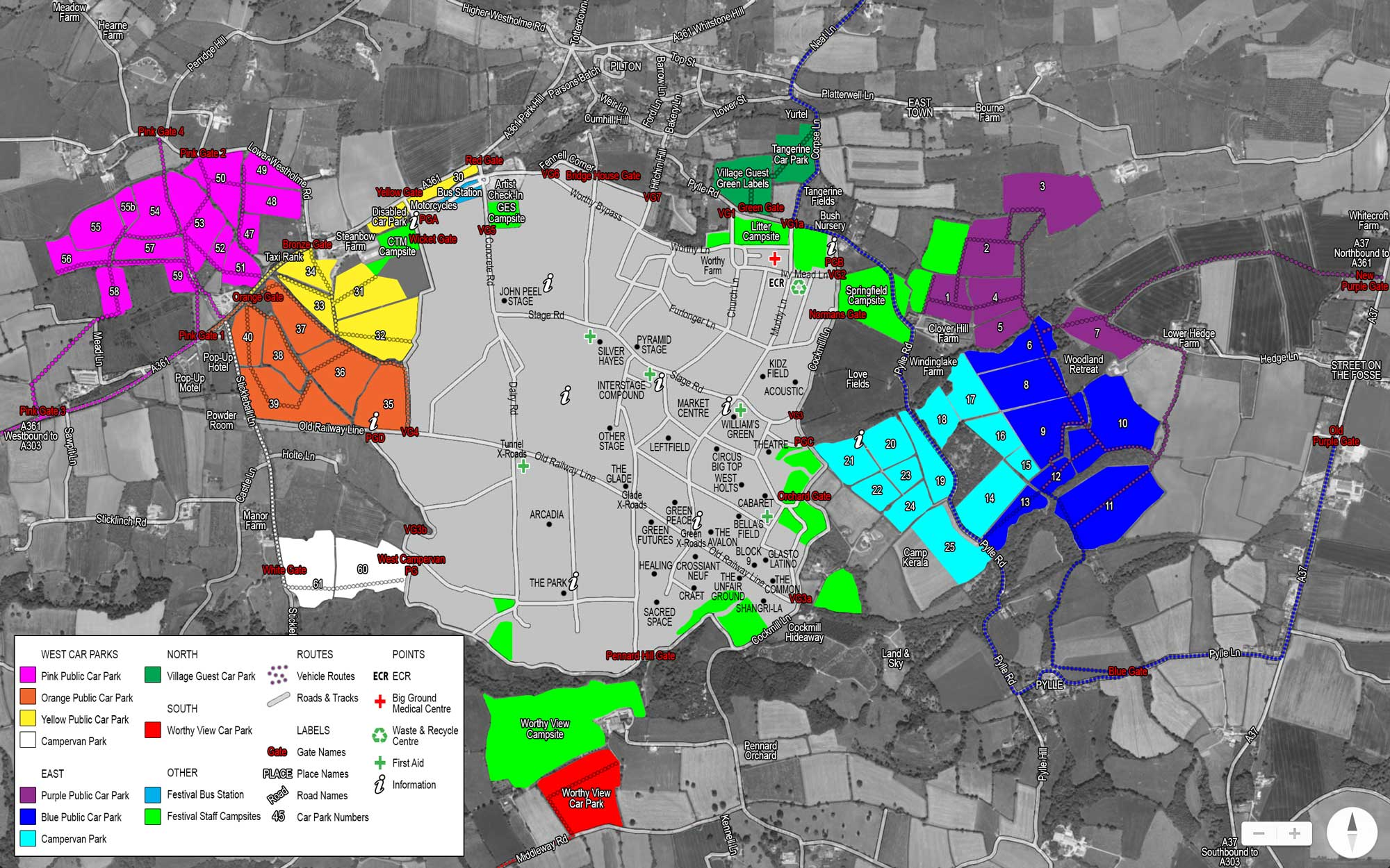 Glastonbury Car Park Map