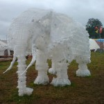 Nelly the elephant packed her trunk and off she went to Glasto! Incredible sculpture made from milk cartons