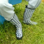 Dan's CND contribution, wellies bought thursday in the site market when the rain & mud arrived
