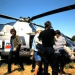 Supergrass arrive on the Channel 4 / NME helicopter
