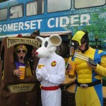 Zoltar, Dangermouse and Wolverine sampling the local brew at the cider bus!