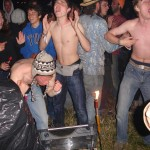 "Shirtless boy posse, having it large on Wednesday night (to a 12volt powered record player, playing 7""s)"