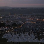 Sat at the top of flagtopia, over looking the tipi field towards the dance village at sunset