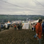 View down the hill towards the pyramid stage