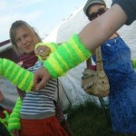 Heulwen, Jo and Tom modelling our beautiful Wingham Wool UV wristbands. Thanks if you bought one!