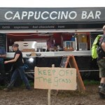 We thought this sign was so funny, and the coffee from the unit behind was the best we had a glastonbury