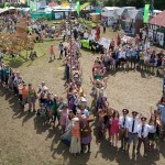 The large human NO to the third runway at Heathrow. View from the Out of Control Tower in the Greenpeace Field.