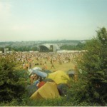 My third and first sunny year at Glasto.  View from the railway track to Other Stage