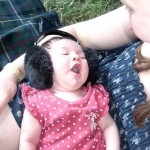baby arabella, 6 days old - too young for big kidz headphones so we try out baby ear muffs!!!