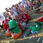 Was Santa trying to bring a bit of coolness to Glasto?