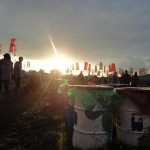 The first time the sun broke through at the festival. Everyone cheered.