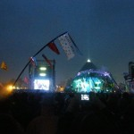 The Pyramid Stage (and flags!) at night - during U2's performance.