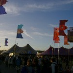 Flags at sunset, Dance Village.