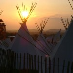 Sunset over tipis.