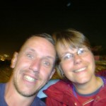 Me and the wife, sitting in a dry paddling pool, post Blur on Sunday night by the Pyramid Stage. Many others joined us.
