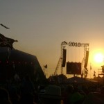 Sunset over Pyramid Stage.