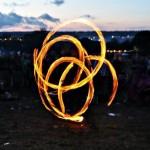 Fire peformer at sunset on Thursday