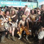 Cavemen and women at the cider bus