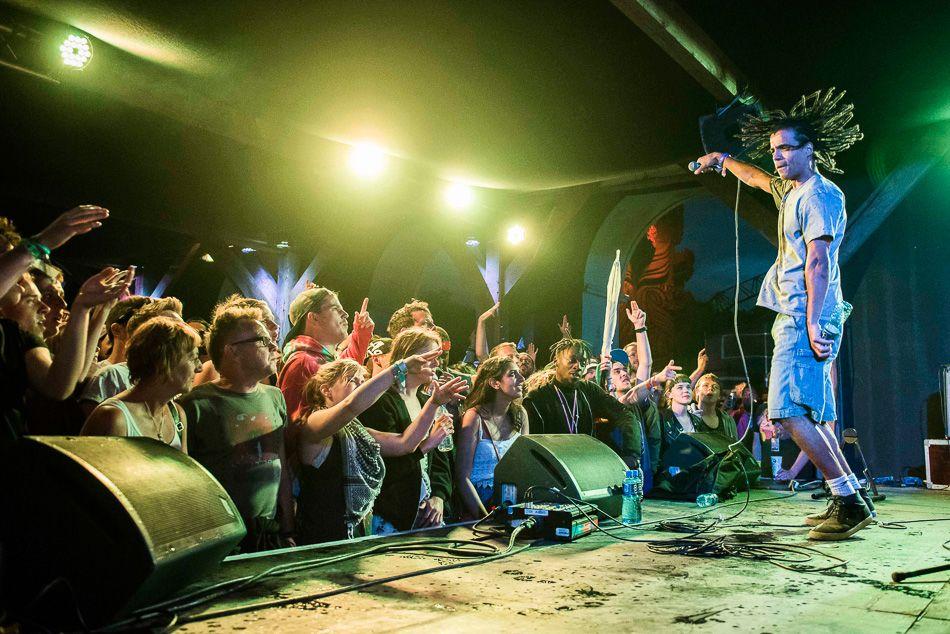 Akala performs live in the Rum Shack at Glastonbury festival, Worthy Farm, Somerset.