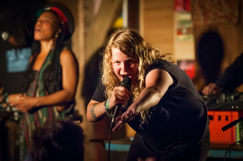 Kate Tempest plays live in the Rumshack at Glastonbury Festival 2014, Day 2, Worthy Farm, Somerset