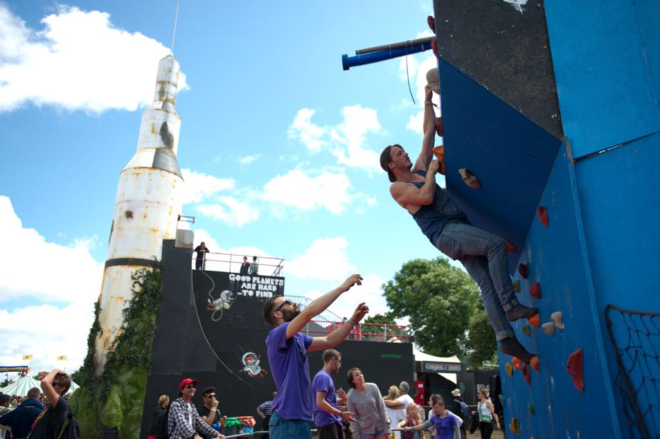 The climbing wall on the Greenpeace field.