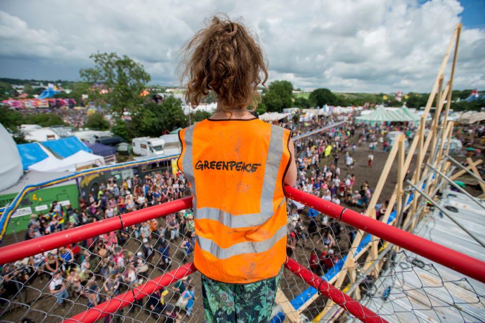 A Greenpeace volunteer at Glastonbury.