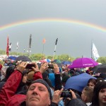 Rainbow from the front of the Pyramid stage
