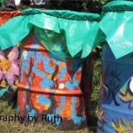 Colourful Glastonbury Trash Bins