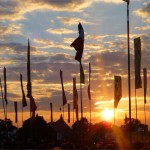 West Holts flags at sundown