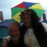 Can't beat a good umbrella hat at Glastonbury to keep brain dry