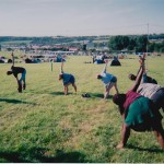 Yoga on Pennards Hill before the masses arrived