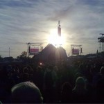 Pyramid Stage at sunset