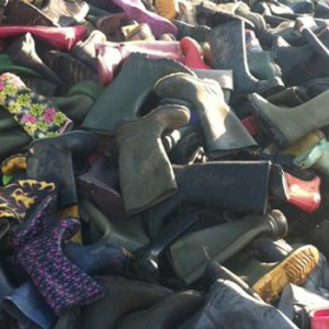 Discarded Glastonbury wellies donated to Calais migrants