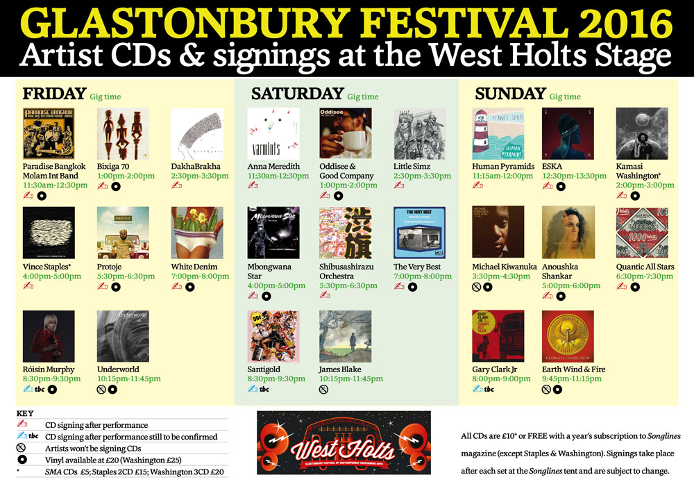 Glastonbury-2016-West-Holts-CD-Signing-Schedule
