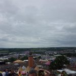 Glastonbury festival view behind letters :)