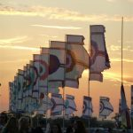Other Stage flags and the just-set sun 2