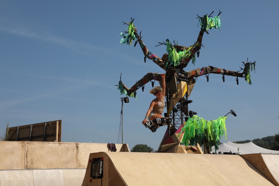 Art tree in Greenpeace field at Glastonbury 2017.