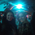Caitlin and Laura at silent disco on Sunday night