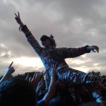 Some chap crowd surfing during smashing pumpkins dressed as a zebra