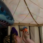 My daughter, Lily, about to be eaten by a shark in the Green Kids Field.