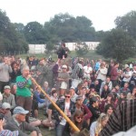 Alp Horn calls the Glastonbury spirits in the Stone Circle at the start of the Opening Ceremony