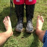 Wellie's or barefoot