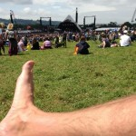 A foot away from the pyramid stage
