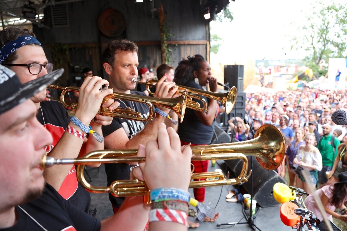 New York Brass Band on the Greenpeace stage at Glastonbury 2017